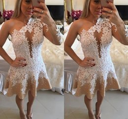 660d9691dd0 2017 Sexy Women Cocktail Dresses One Shoulder Prom Dresses Long Sleeves  White Lace Appliques Party Dress Plus Size Formal Homecoming Gowns