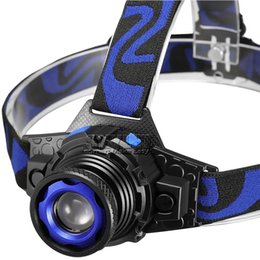 caving headlamps UK - LED Headlamp 1 CREE Flashlight Adjustable 90 Degree Headlamp Zoomable Light For Hunting Camping Climbing with Retail Package