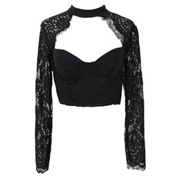 Ingrosso Abbigliamento donna Estate Elegante Black White Lace Crochet Top Crop Top Girl manica lunga Nero Camicetta donna Top Hollow Shirt