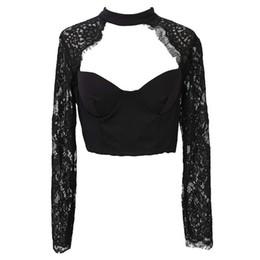 $enCountryForm.capitalKeyWord UK - Women's Clothing Summer Elegant Black White Lace Crochet Crop Top Girl Long Sleeve Black Women's Blouse Lingerie Hollow Shirt Top