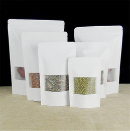 Discount kraft paper tea packaging box New White Kraft Paper Bag With Window Stand Up Pouch With Zipper Dried Fruit Nut Tea Packaging Bag LZ0164