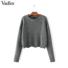 ca52d78080 Wholesale-Women hem lace up short loose sweaters o neck long sleeve knitted  pullover female autumn casual streetwear warm tops SW1122