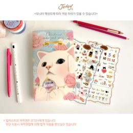 Discount diary stickers labels - Wholesale- 8 sheets set New Very Cute Cats Designs Transparent Decoration PVC Sticker Diary Planner Phone Label Statione