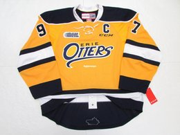 Barato Traje De Spandex Amarelo-Costume barato CONNOR McDAVID ERIE OTTERS AUTHENTIC TERCEIRO YELLOW CCM EDGE JERSEY Jerseys mensais