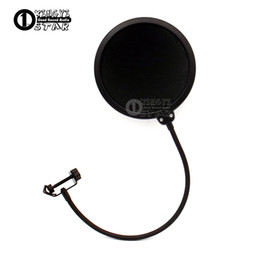Microphone Pop Filters Canada - Double Layer Condenser Microphone Pop Filter Mask Shied Gooseneck Windscreen For Boom Mic Stand Computer Video Recording Studio Wind Screen