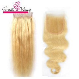 613 closure piece Canada - #613 Blond Closure Brazilian Hair Body Wave Top Lace Closure Bleached Knots Straight Hair Pieces Greatremy Factory Outlet Fast Shipping