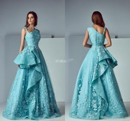 Robe De Bal À La Menthe Pas Cher-Nouvelle arrivée 2017 A-Line Mint Blue Lace Robes de soirée aigle V-Neck plissé Long Robes de bal Ruffled Formal Celebrity Dress pour Party Wear