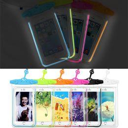 $enCountryForm.capitalKeyWord NZ - Waterproof bag Cell Phone Cases Wholesale hanging Arm phone bag luminous strip light pvc mobile phone beach waterproof bag 1472