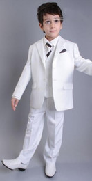 Discount silver kids tuxedo - Wholesale- New Arrival Two Button White Kids Tuxedos Handsome Primary Scholar Business Suits Boy Prom Suits (Jacket+Pant