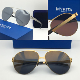 d5744eb5be 2018 new mykita sunglasses ultralight frame without screws HANSI goggles frame  flap top men brand designer retro coating mirror lens