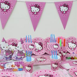 Wholesale-tablecloth paper plate cups napkin banners 80pcs lot Kids Birthday Party Decoration cartoon hello kitty Supplies for 6 person & Paper Plates Kids Party Online | Paper Plates Kids Party for Sale
