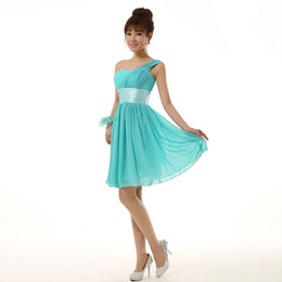 3cd7ecb0a9 new arrival 2018 short semi formal modest one shoulder sweet a-line dress  turquoise homecoming dresses under 100 for party H2698