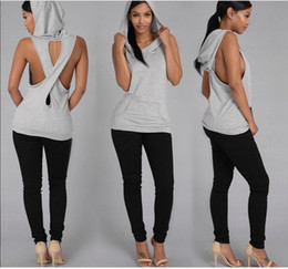 Chaqueta Con Capucha Sin Mangas Baratos-Ropa Mujer 2017 Casual Women Dropped Armhole Tank Top Sudadera con capucha sin mangas de algodón Vest Fitness Sudadera con capucha