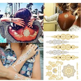 Wholesale- Wholesale Body Paint Tattoo Gold Silver Leaf Flower Tattoo Stickers Metal Flash Temporary Tattoos Arabic Henna Tattoo from henna sticker stencils manufacturers