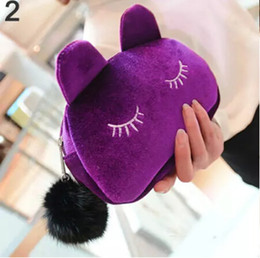 Coin bag korean online shopping - Cute Portable Cartoon Cat Coin Storage Case Travel Makeup Flannel Pouch Cosmetic Bag Korean and Japan Style