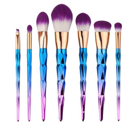 Discount metal makeup brush set Super Soft 7PCS Cosmetic Makeup Brush Set, Silky Soft Cosmetic Conical gradient color Makeup Brushes,Fashion Design for