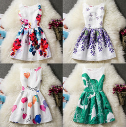 Discount striped organza dress - 11 Styles big girls sundress butterfly flower ball printed girl's dress size 130 140 150 160 children clothing kids