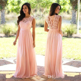 blush color evening dresses Canada - 2020 Blush Lace Bridesmaid Dresses Jewel Sleeveless Wedding Guest Dress Sheer Zipper Back Sweep Train Chiffon Cheap Formal Evening Gowns