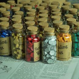Bottle Wax Canada - Wholesale- Vintage wax stamp sealing wax bottled granules wax gift box set gift 1 bottle of 60