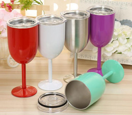 Chinese  Stainless Steel Wine Glass 9 colors 10oz Wine Glasses Vacuum Double layer thermo cup Drinkware Tumbler Red Wine Mugs Free Shipping manufacturers