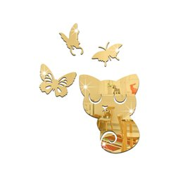 China 3D mirror wall stickers kids Creative Home Decor DIY gold cats butterfly Removable Decoration Stickers 2017 4pcs set wholesale Free delivery supplier glass wall mirror art suppliers
