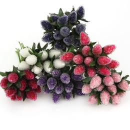 Flowers For Wedding Car Decoration UK - 12PCS Lot DIY New Plastic Artificial StrawBerry Flower Bouquet For Home Party Wedding Car Decoration Scrapbooking Fake Flowers