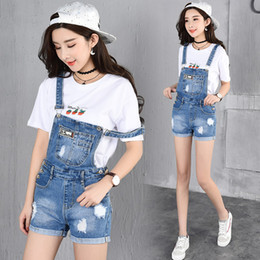 Barato Macacão Jeans-Atacado- 2017 Summer Style Denim Shorts Plus tamanho Estilo coreano Jumpsuit Mulheres Denim Overalls Casual Girls Roll-up Hem Pants Jeans Short