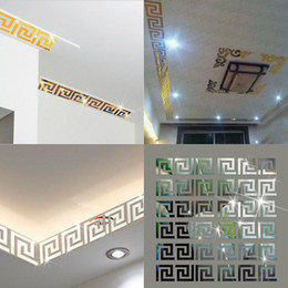 Discount plastic labyrinth - Puzzle Labyrinth Acrylic Mirror Wall Decal Art Stickers Home Living Room Decor Wall Stickers Silver Gold Black