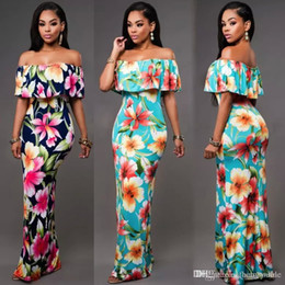 Robes De Plage Maxi Pas Cher Pas Cher-Cheap Summer Maxi Floral Imprimé Robes Femmes Robes longues 2017 Off the Shoulder Robes de plage brésiliennes Sheath Bodycon Dress FS1179