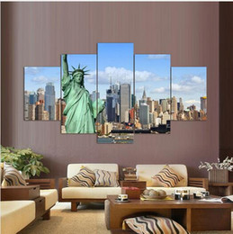 statue liberty wall art 2019 - Top Fashion 5panels Paintings On Canvas Print Statue Of Liberty Painting Wall Art Picture Home Decor Living Room Backdro