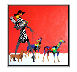 $enCountryForm.capitalKeyWord Canada - Modern Decor Abstract Figure Canvas Printing Handpainted People Oil Painting Young Lady with Three Dogs Picture for Living Room No Frame