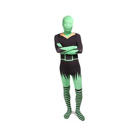 Discount sexy green catsuit - Black And Green Sexy Women Cosplay Costumes Halloween Lycra Spandex Full Body Zentai Catsuit