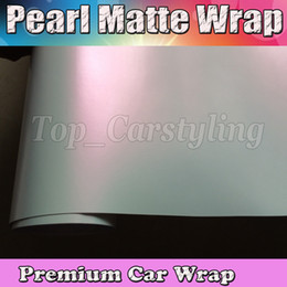 White Pearl Pink Car NZ - Premium Matte pearl white to pink shift Wrap With Air free Release Pearlescent Matt Film Car Wrap styling Unique covering 1.52x20m Roll