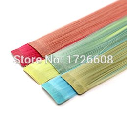 "hair extensions tapes 2019 - Wholesale- 2016 Tape In Synthetic Hair Extensions 10pcs lot Adhesive Skin Weft Hair Extensions 24"" 60cm Double Side"