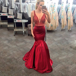 Barato Abendkleid Prom-New Fashion Borgonha Cetim V-Neck Beaded Mermaid Prom Dresses Long Vestidos de noite formal Dress Robe de soiree Abendkleid 2017