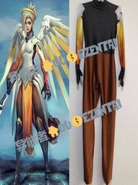 lycra jumpsuit costume NZ - 3D Print High Quality Mercy Suit Jumpsuit Mercy Lycra Spandex Undersuit Mercy Cosplay Costume Custom Made Zentai Catsuit