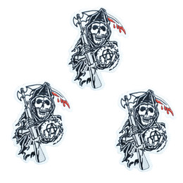 skull embroidered patches NZ - 1pcs Punk skull with axe badges patches for motor clothing iron embroidered patch applique iron on patches sewing accessories