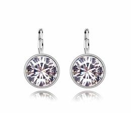 $enCountryForm.capitalKeyWord NZ - Hot Sales 18K Platinum Plated Women Round Cute Hoop Earrings Genuine Austrian Crystal Fashion Earrings Jewelry for Women Wholesale