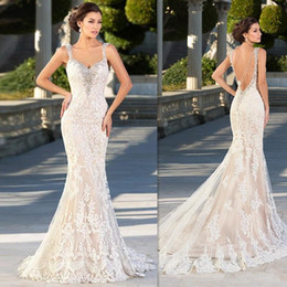 Barato Vestido De Noiva Trompete Querida-Zuhair Murad Vestidos de noiva 2016 Mermaid Lace Appliques Sweetheart Vestidos de noiva Backless Sexy Beaded Gothic Trumpet Dress For Brides