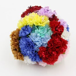 Flowers For Wedding Car Decoration UK - 6PCS Lot Can Wholesale Silk Artificial Carnation Stamen Bud Flower Bouquets For Home Party Wedding Car Corsage Decoration Crafts