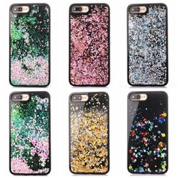 Discount skins move Quicksand Bling Liquid Sparkle Hard Plastic PC+Soft TPU Case For Iphone 7 Plus 6 6S 6P PC Glitter Diamond Moving Magical