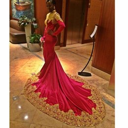 Discount formal pink shirt design - abendkleider high neck red evening dresses gold appliques long sleeves formal gown middle east design beaded crystal pro