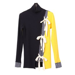 28bfe4a1a78 Wholesale- KIKIMOLY Women 2017 Fashion Long Sleeve Designer Color Patchwork  Irregular Ribbon Bow Turtleneck Slim Fit Knitwear Knit Sweater