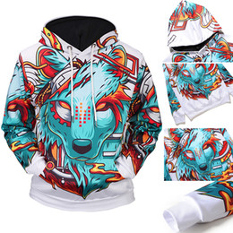 14c1a2d7c466 2017 wolf print hoodies 2018 New Arrivals Fashion Men s 3D Cartoon Wolf  Pattern Hoodies Hooded Pullover