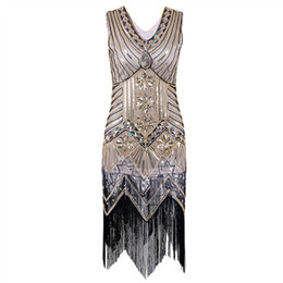 Robe De Cocktail Sexy Pas Cher-Vente en gros - Paillette Sequins Tassel Dress Deep V Neck Vest Robes Femme 1920's Style Flapper Vintage Gatsby Charleston Vestidos Dropship