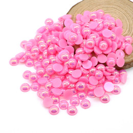 Wholesale ABS Flatback Half Pearl Beads Peach AB Flat Back Round Craft Half Pearls Diy Glue On Beads For Decoration, 500-5000PCS PACK