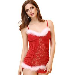 ab967feef Conjuntos Exóticos de Navidad Disfraces Sexy Lencería Sexy Erótica Caliente  Langerie Nuisette Catsuit Mujeres Ropa Exótica Ropa Interior Sexy Roja