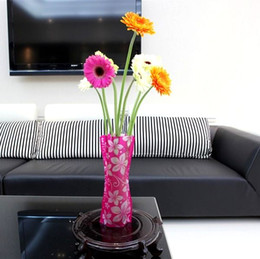 pvc foldable flower vase NZ - 1000pcs DIY flower MIX Size folding PVC foldable small opp bag eco-friendly vase Free DHL FEDEX Shipping many design ship random