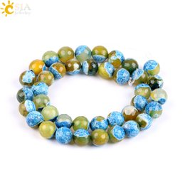 Chinese  CSJA Carved 10mm Real Natural Gemstone Loose Beads 2 Colors Mixed Round Agate Beads Women Jewelry Necklace Bracelet Earring DIY Making P006 manufacturers