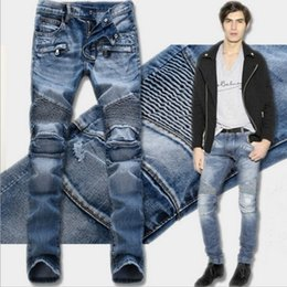 Barato Calça Jeans Jeans-Hodisytian New Fashion Men Jeans Denim Pants Slim Biker Jeans Punk Distressed Pencil Calças Breve Calças Masculinas Vintage Drapeado